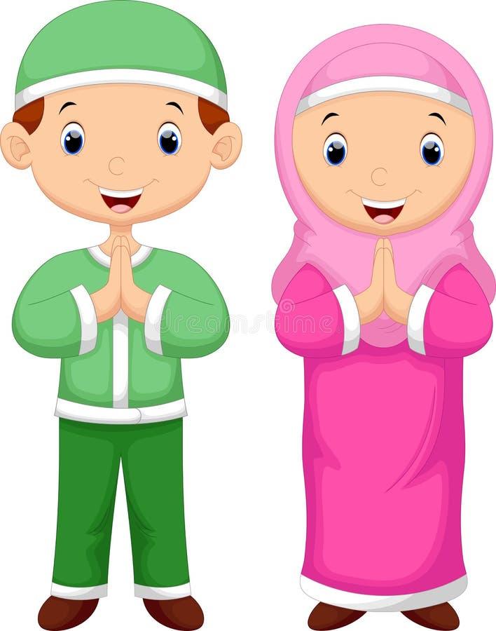 Desenhos animados da criança dos muçulmanos ilustração royalty free