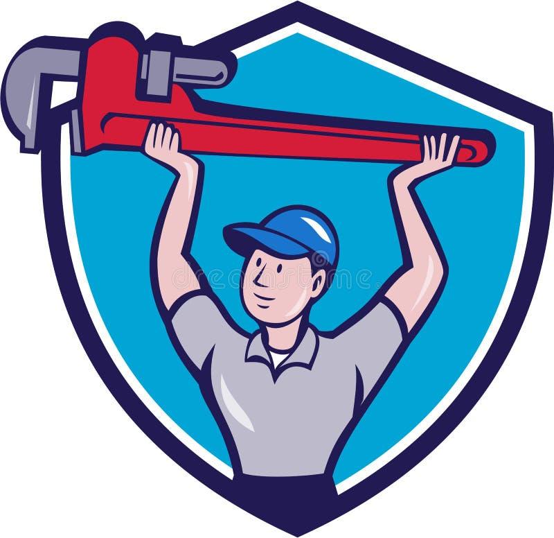 Desenhos animados da crista de Lifting Monkey Wrench do encanador ilustração stock