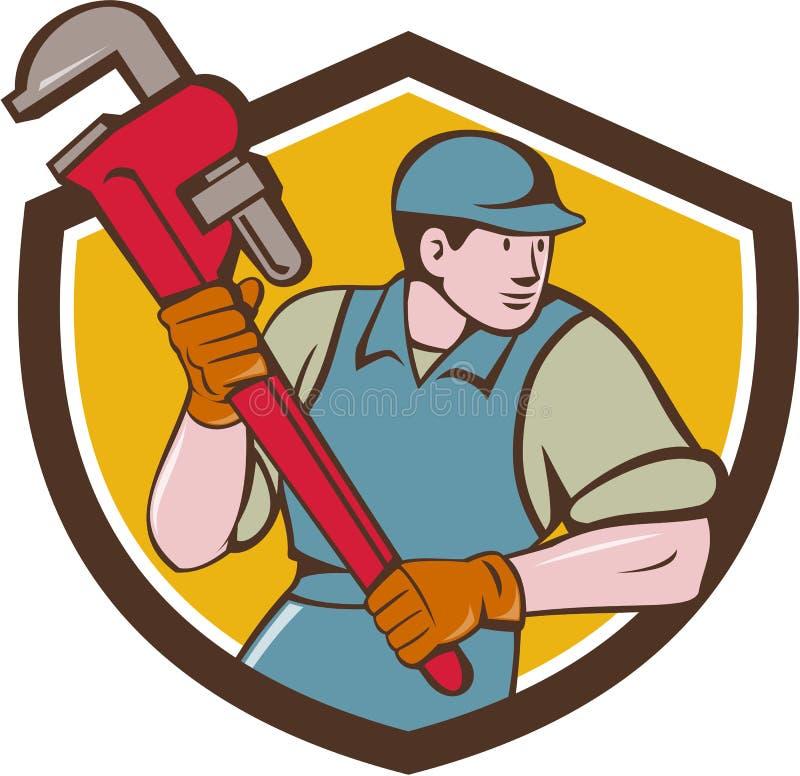 Desenhos animados da crista de Running Monkey Wrench do encanador ilustração stock