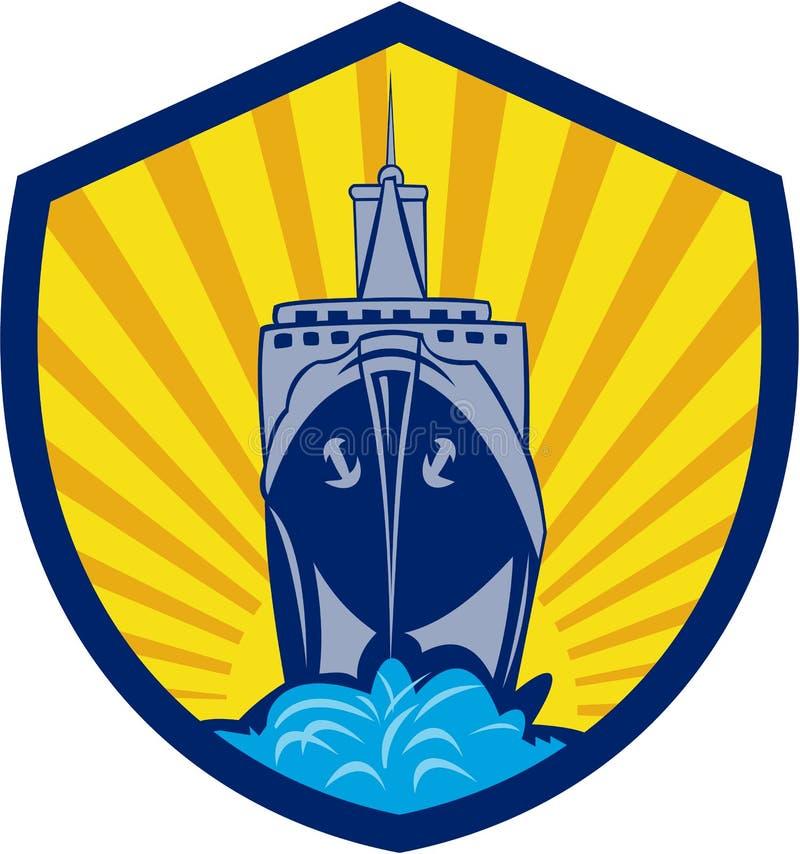 Desenhos animados da crista do barco de carga do navio de passageiro ilustração stock