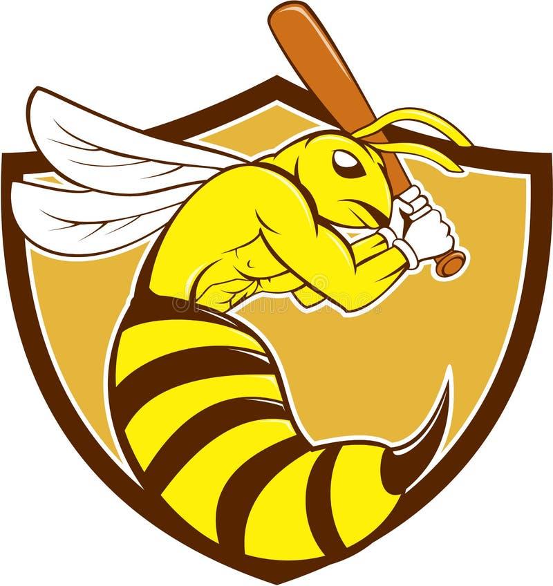 Desenhos animados da crista do bastão do jogador de beisebol da abelha de assassino ilustração do vetor
