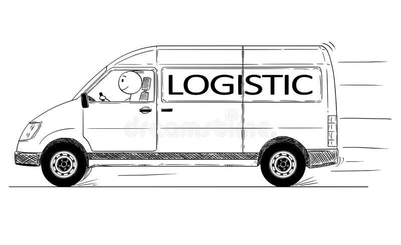 Desenhos animados da entrega genérica de condução rápida Van With Logistic Text ilustração stock