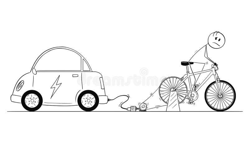 Desenhos animados da equitação do homem no gerador de poder da bicicleta para carregar sua bateria de carro elétrico ilustração stock