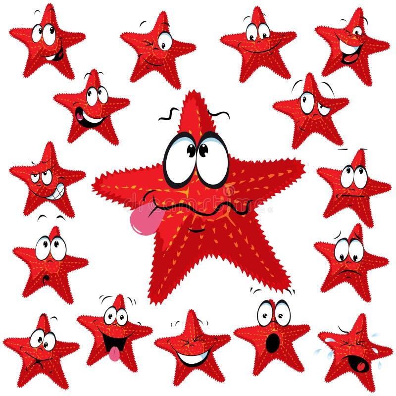 Desenhos animados da estrela do Mar Vermelho ilustração stock