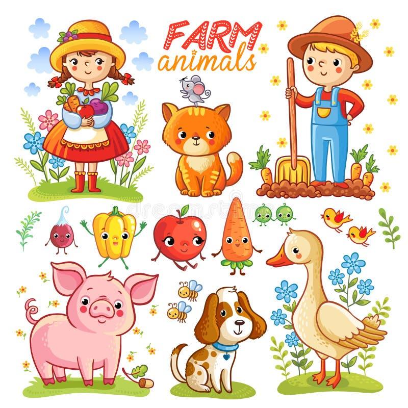 Desenhos animados da exploração agrícola ajustados com animais ilustração do vetor