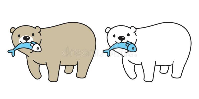 Desenhos animados da ilustração do ícone do logotipo dos peixes da captura da panda do urso polar do vetor do urso ilustração stock