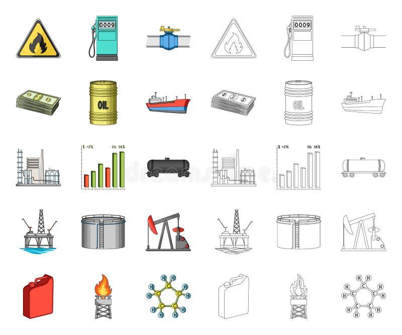 Desenhos animados da ind?stria petroleira, ?cones do esbo?o em cole??o ajustada para o projeto Equipamento e Web do estoque do s? ilustração do vetor