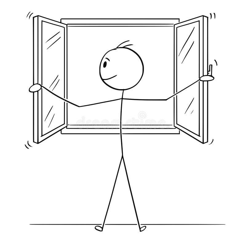 Desenhos animados da janela de abertura do homem ilustração royalty free