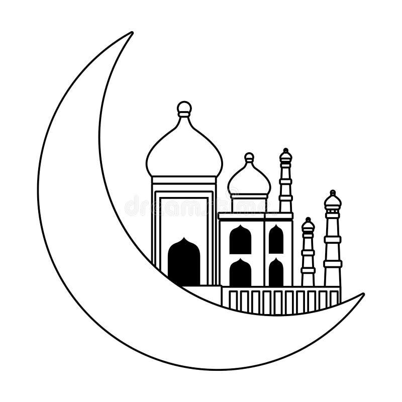 Desenhos animados da lua mahal e de um quarto de Taj isolados em preto e branco ilustração do vetor