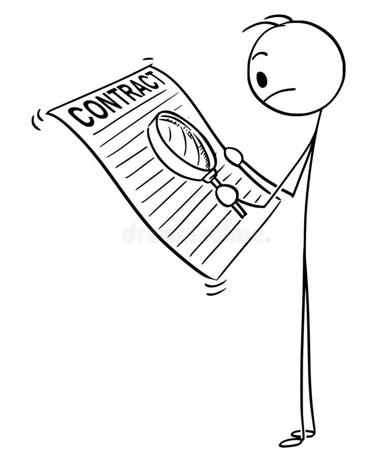 Desenhos animados da lupa do homem ou do Reading Contract With do homem de negócios ilustração stock