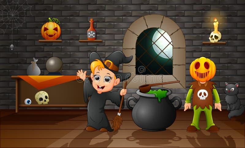 Desenhos animados da máscara pequena da bruxa e da abóbora ilustração stock