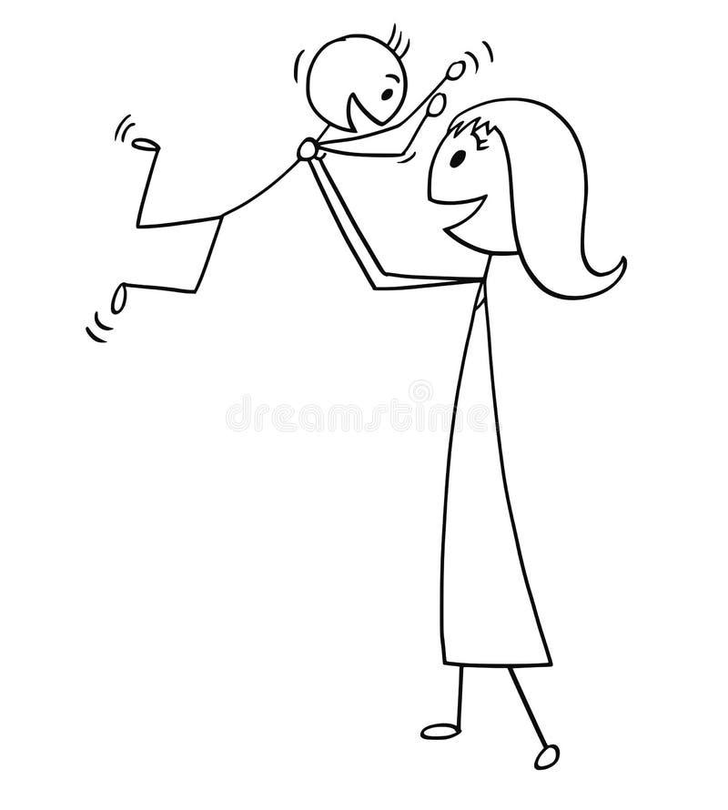Desenhos animados da mãe e do filho que jogam junto ilustração stock
