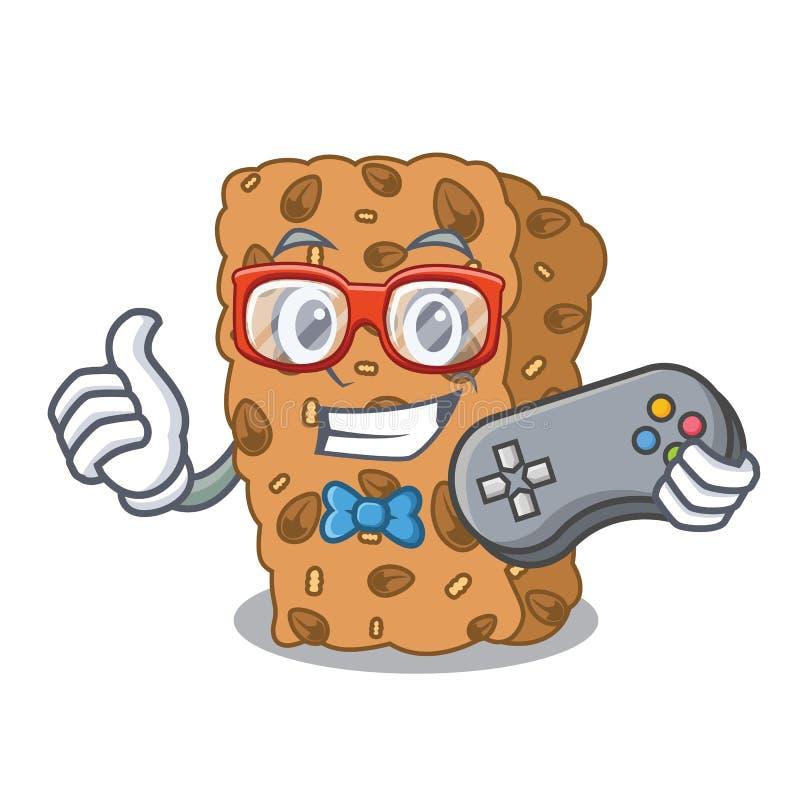 Desenhos animados da mascote da barra de granola do Gamer ilustração royalty free