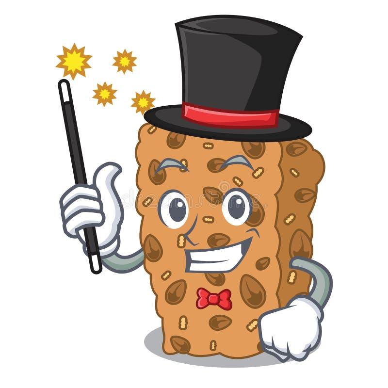 Desenhos animados da mascote da barra de granola do mágico ilustração royalty free