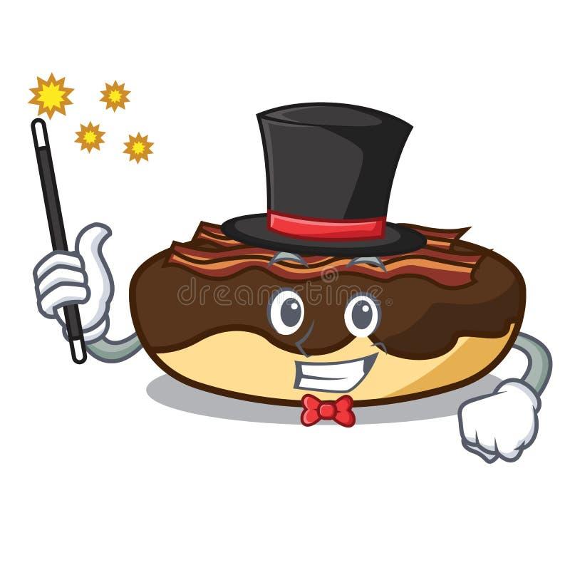 Desenhos animados da mascote da barra do bacon do bordo do mágico ilustração stock