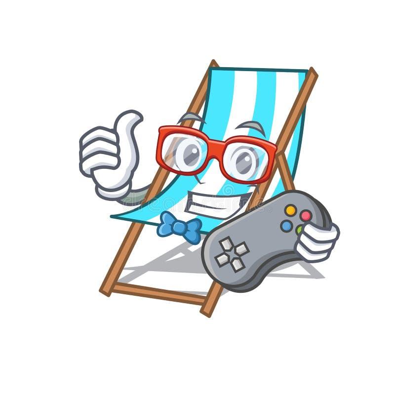 Desenhos animados da mascote da cadeira de praia do Gamer ilustração do vetor