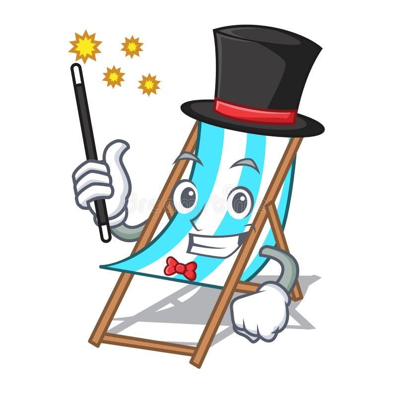 Desenhos animados da mascote da cadeira de praia do mágico ilustração stock