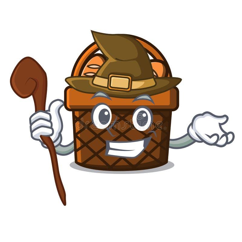 Desenhos animados da mascote da cesta do pão da bruxa ilustração do vetor