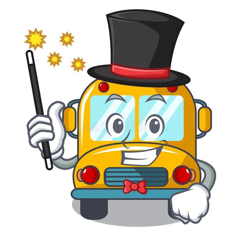 Desenhos animados da mascote do ônibus escolar do mágico ilustração stock