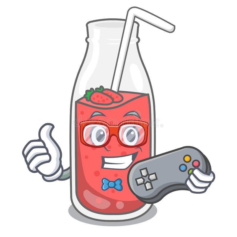 Desenhos animados da mascote do batido da morango do Gamer ilustração do vetor