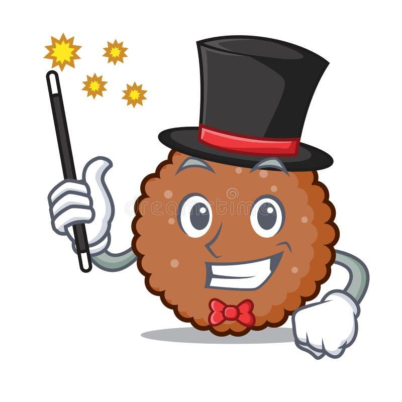 Desenhos animados da mascote do biscoito do chocolate do mágico ilustração do vetor