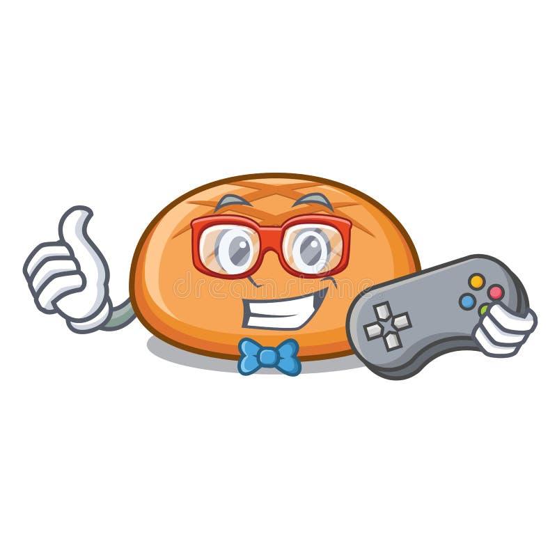 Desenhos animados da mascote do bolo de Hamburger do Gamer ilustração do vetor