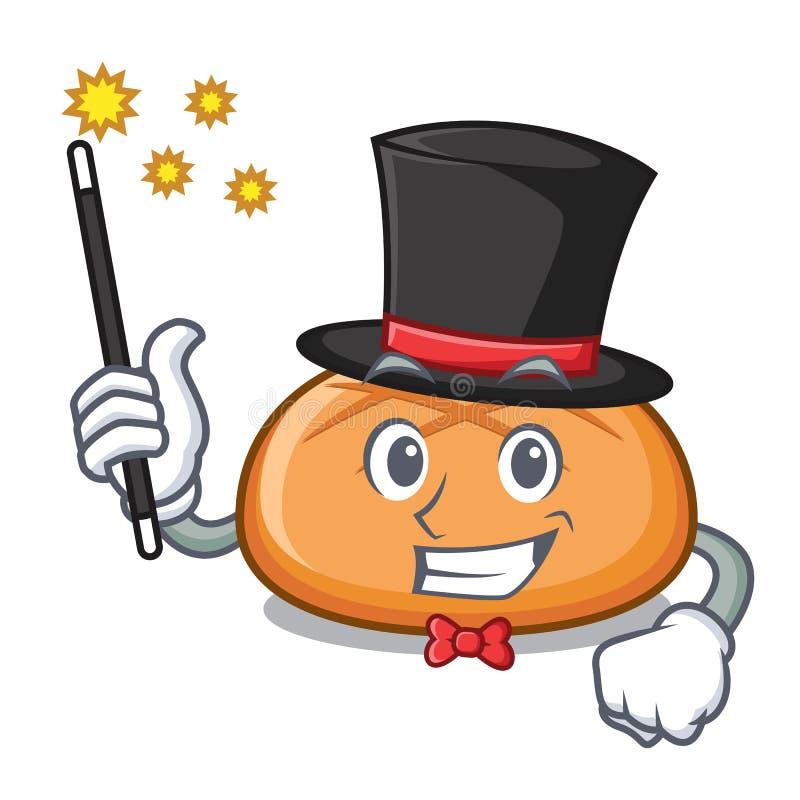 Desenhos animados da mascote do bolo de Hamburger do mágico ilustração stock