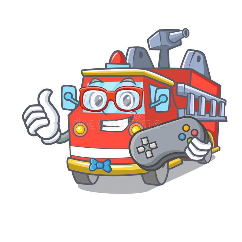 Desenhos animados da mascote do carro de bombeiros do Gamer ilustração stock