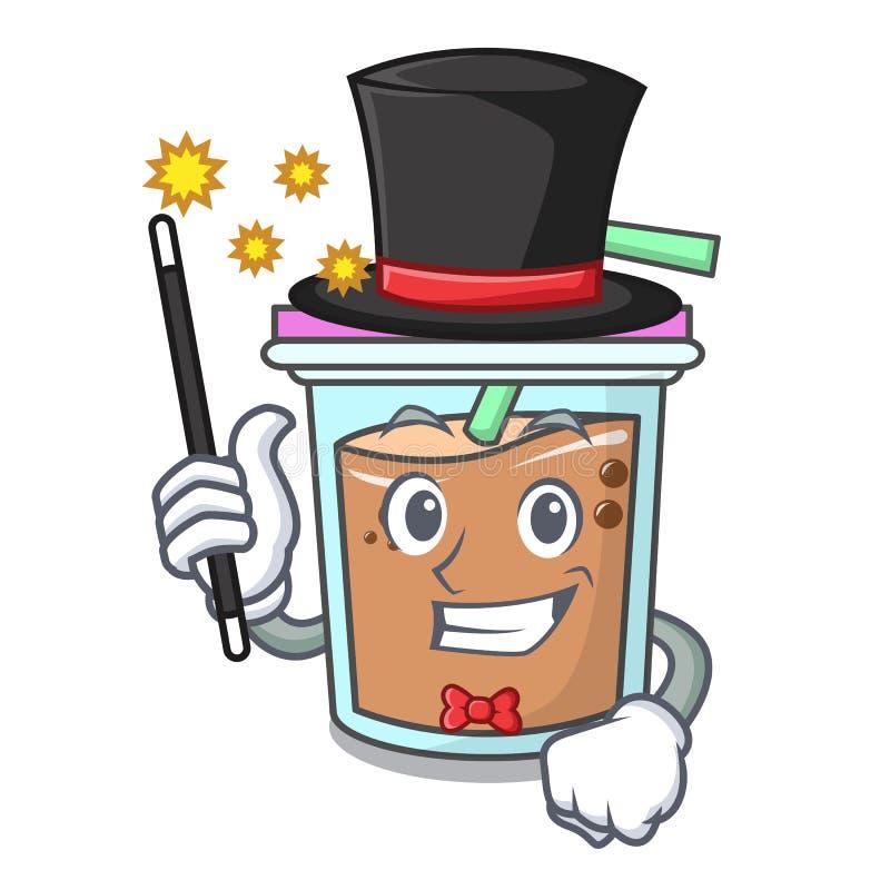 Desenhos animados da mascote do chá da bolha do mágico ilustração royalty free