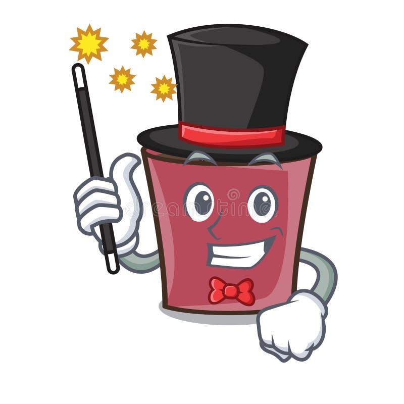 Desenhos animados da mascote do chocolate quente do mágico ilustração do vetor