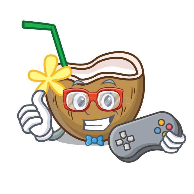 Desenhos animados da mascote do coco do cocktail do Gamer ilustração do vetor