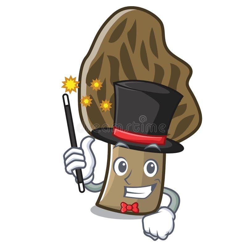 Desenhos animados da mascote do cogumelo do morel do mágico ilustração stock