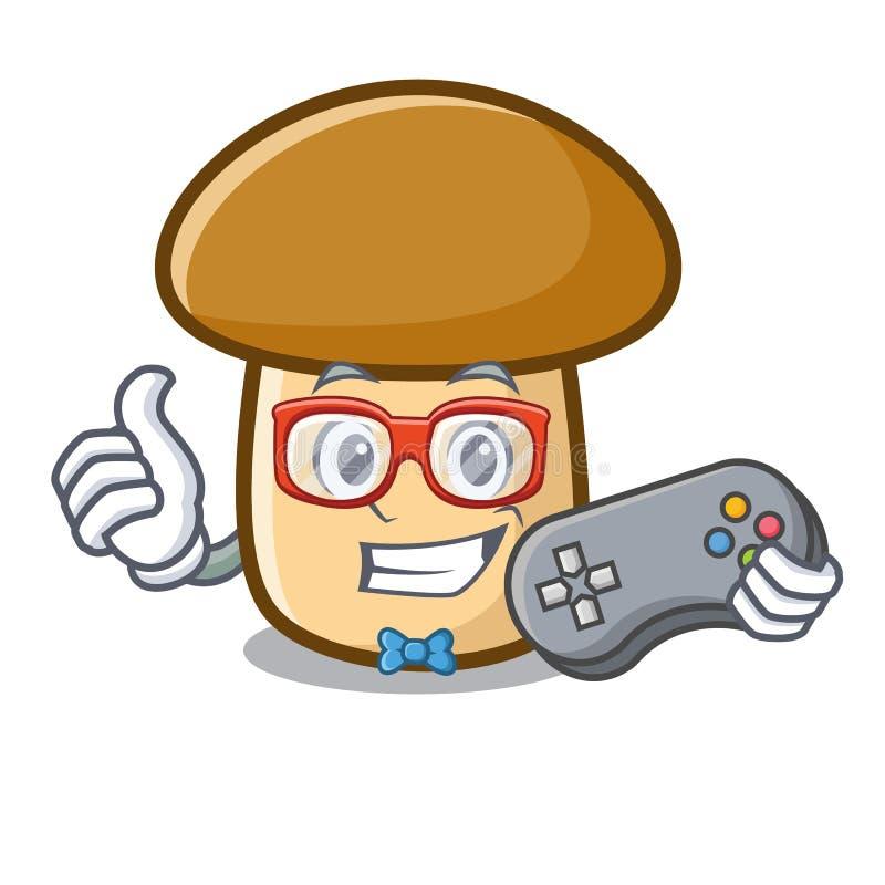 Desenhos animados da mascote do cogumelo do porcini do Gamer ilustração royalty free