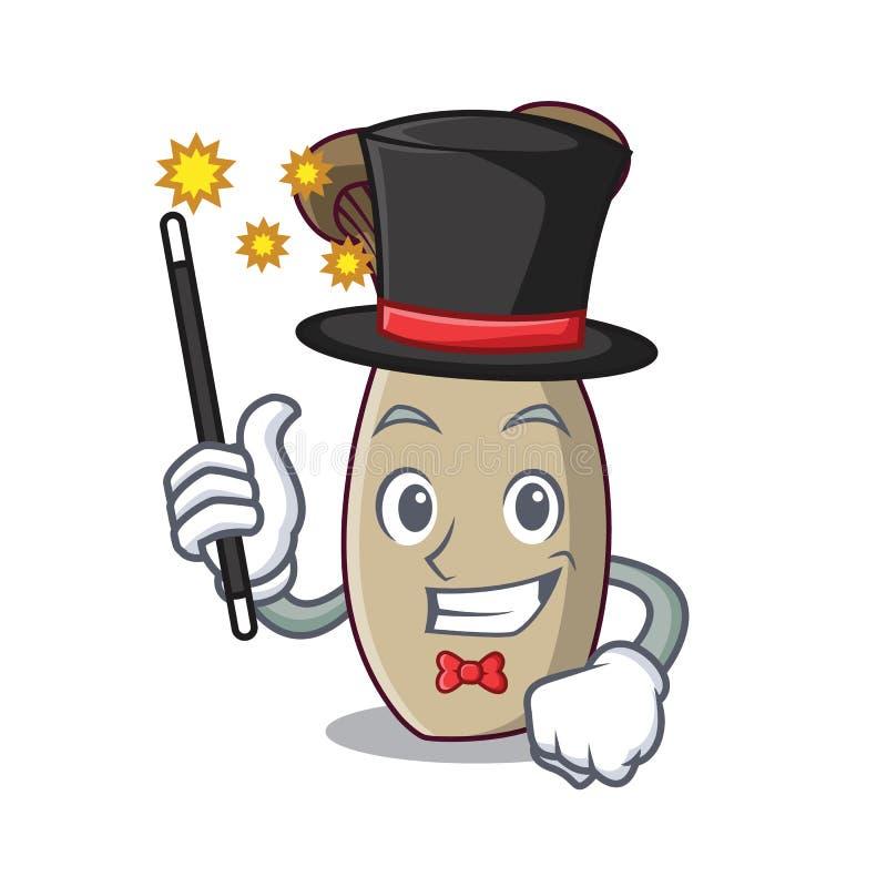 Desenhos animados da mascote do cogumelo da trombeta do rei do mágico ilustração do vetor