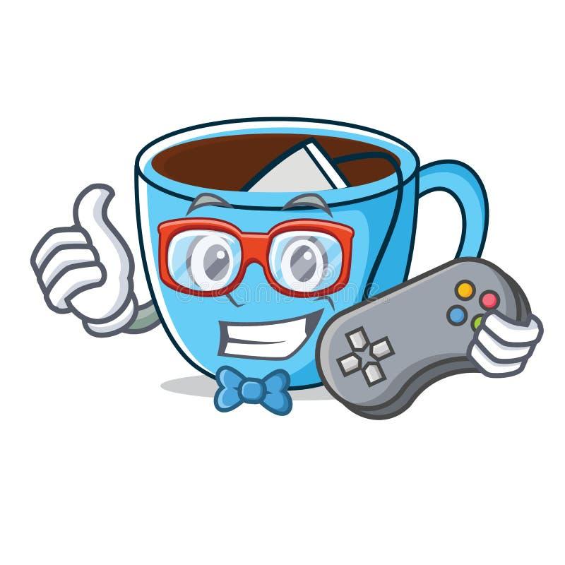 Desenhos animados da mascote do copo de chá do Gamer ilustração stock