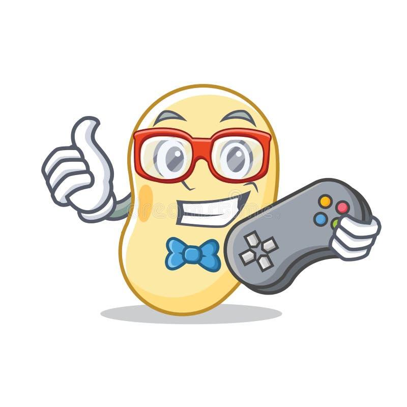 Desenhos animados da mascote do feijão da soja do Gamer ilustração royalty free