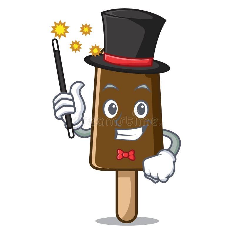 Desenhos animados da mascote do gelado de chocolate do mágico ilustração do vetor