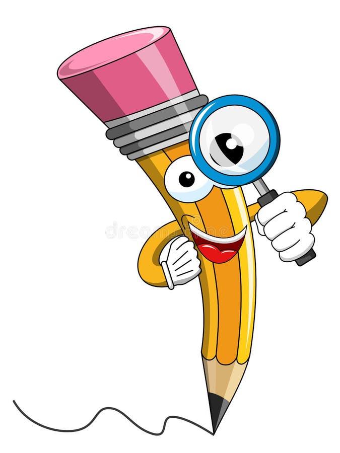 Desenhos animados da mascote do lápis que olham a lupa ilustração do vetor