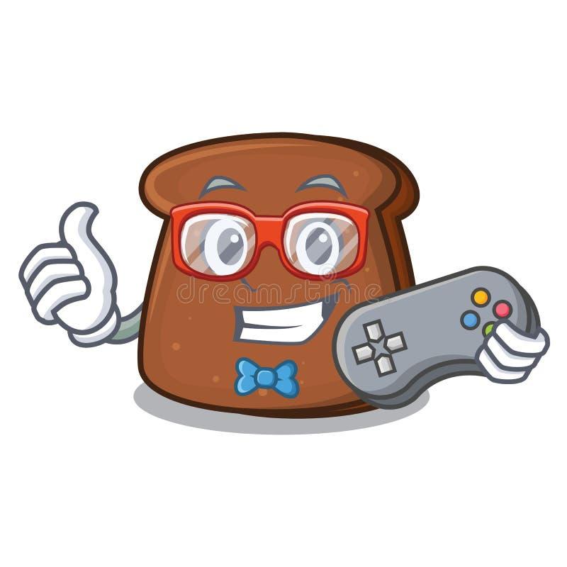 Desenhos animados da mascote do pão de mistura do Gamer ilustração do vetor