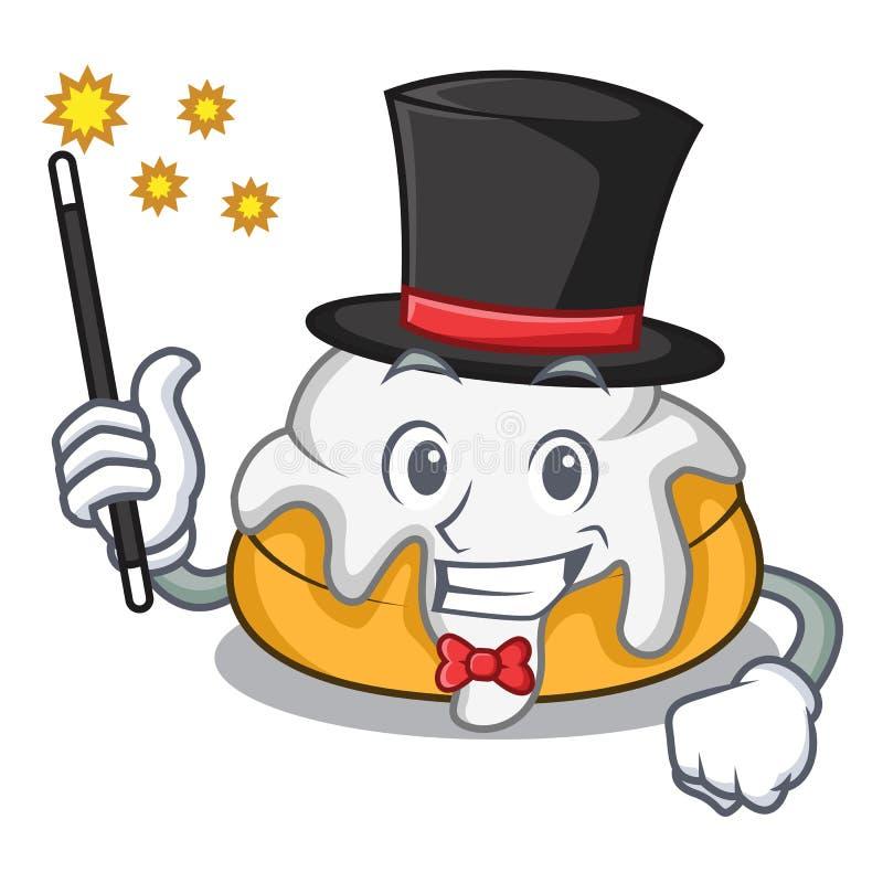 Desenhos animados da mascote do rolo de canela do mágico ilustração do vetor
