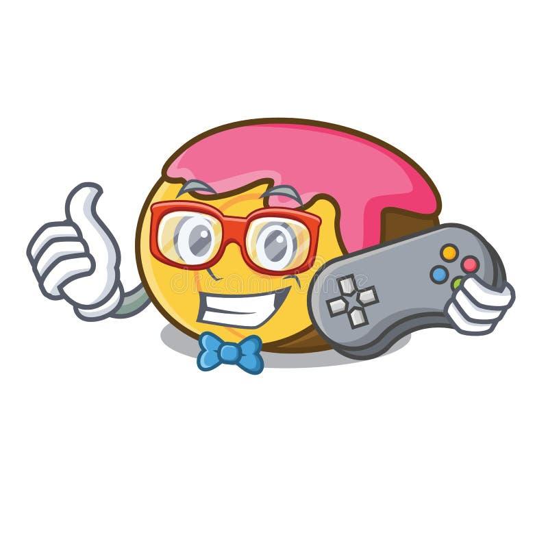 Desenhos animados da mascote do rolo suíço do Gamer ilustração stock