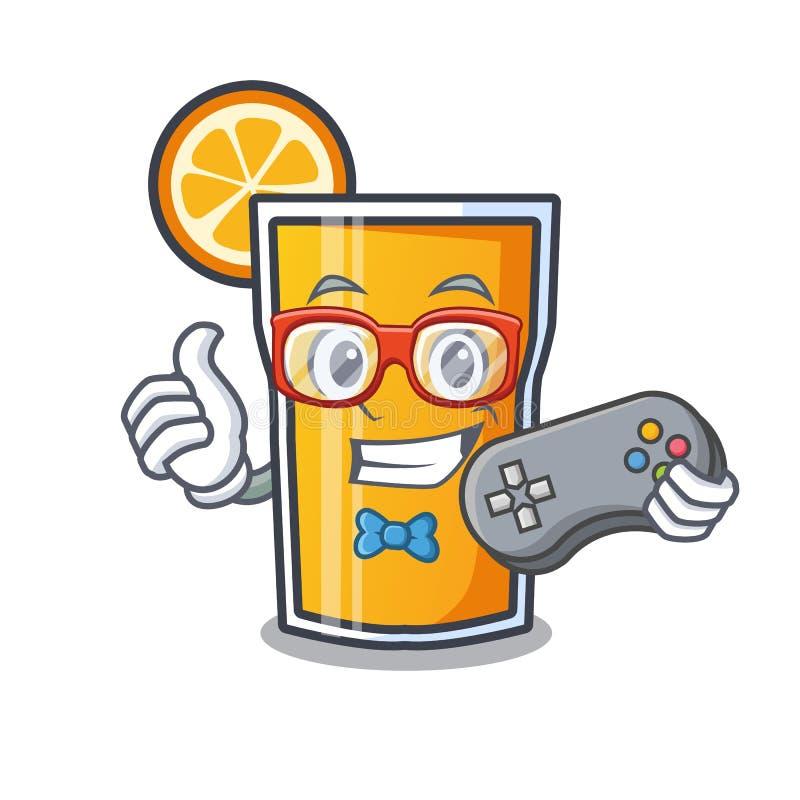Desenhos animados da mascote do suco de laranja do Gamer ilustração do vetor