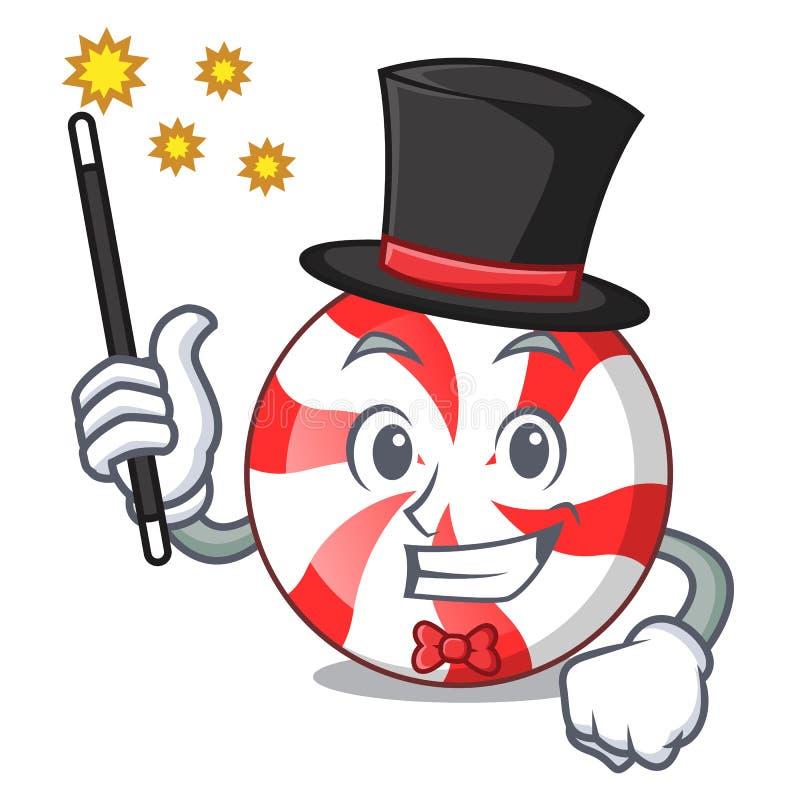 Desenhos animados da mascote dos doces de pastilha de hortelã do mágico ilustração stock