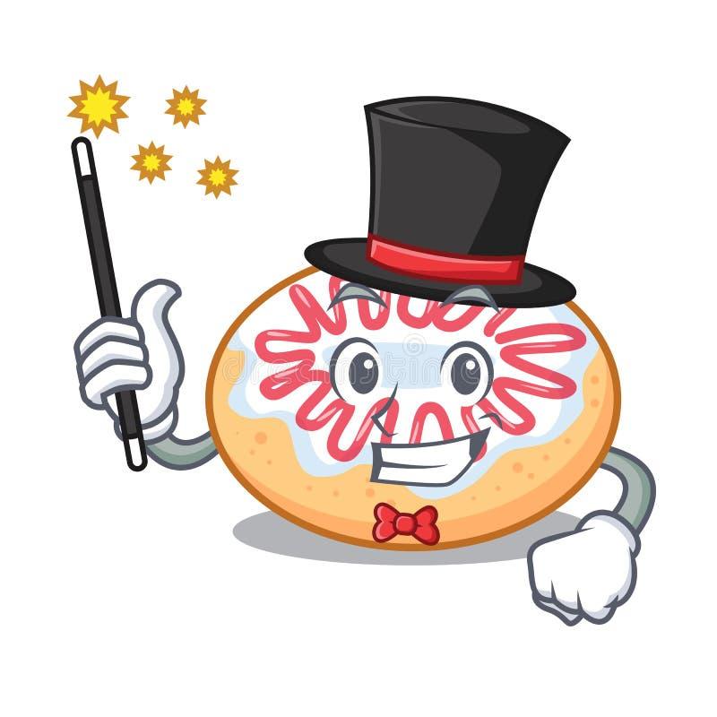 Desenhos animados da mascote da filhós de geleia do mágico ilustração stock