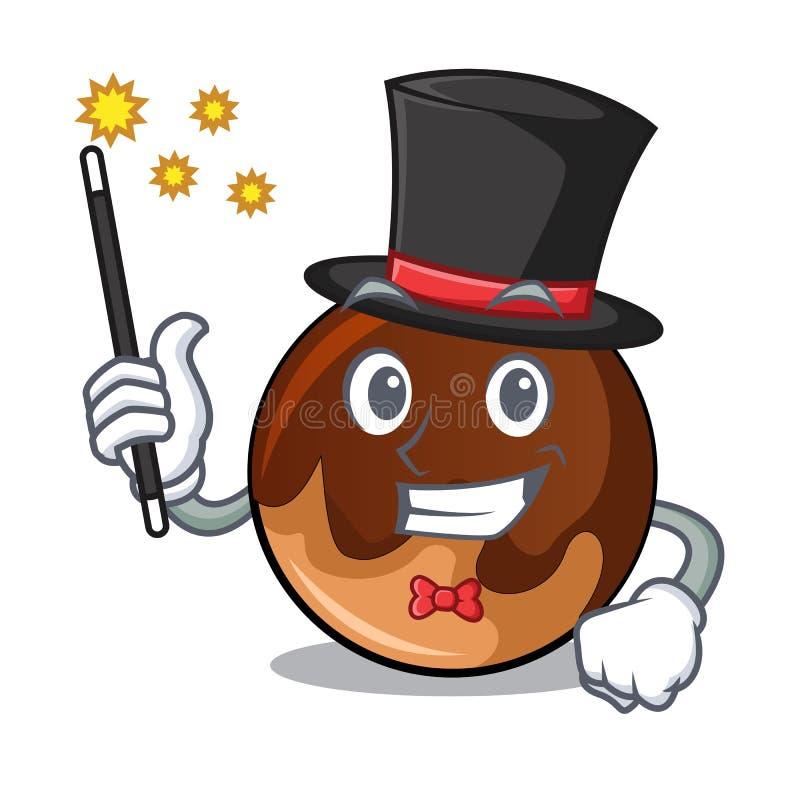 Desenhos animados da mascote da filhós do chocolate do mágico ilustração royalty free