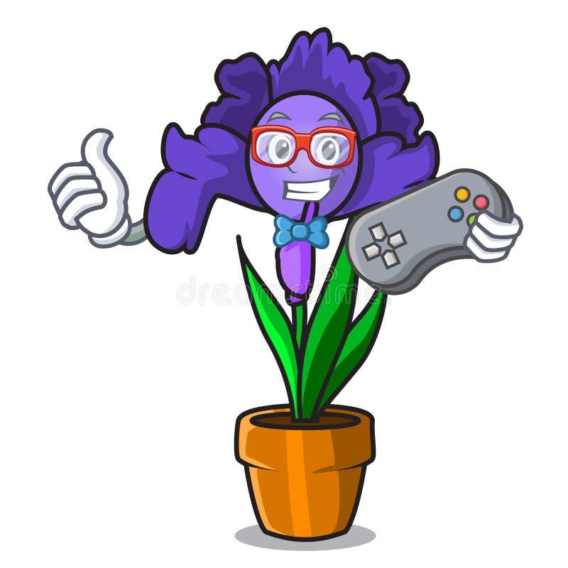 Desenhos animados da mascote da flor da íris do Gamer ilustração royalty free