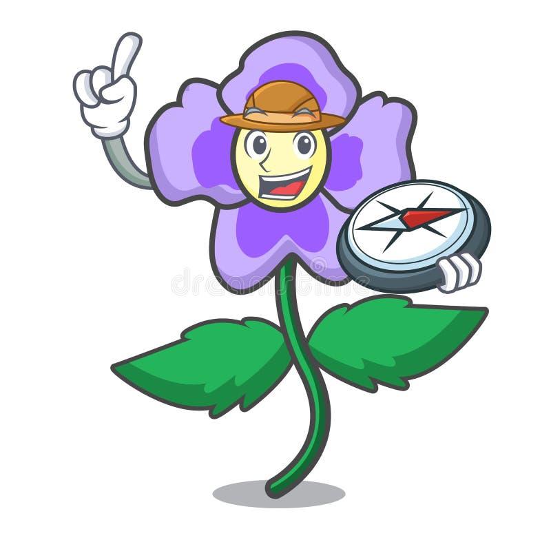 Desenhos animados da mascote da flor do amor perfeito do explorador ilustração do vetor