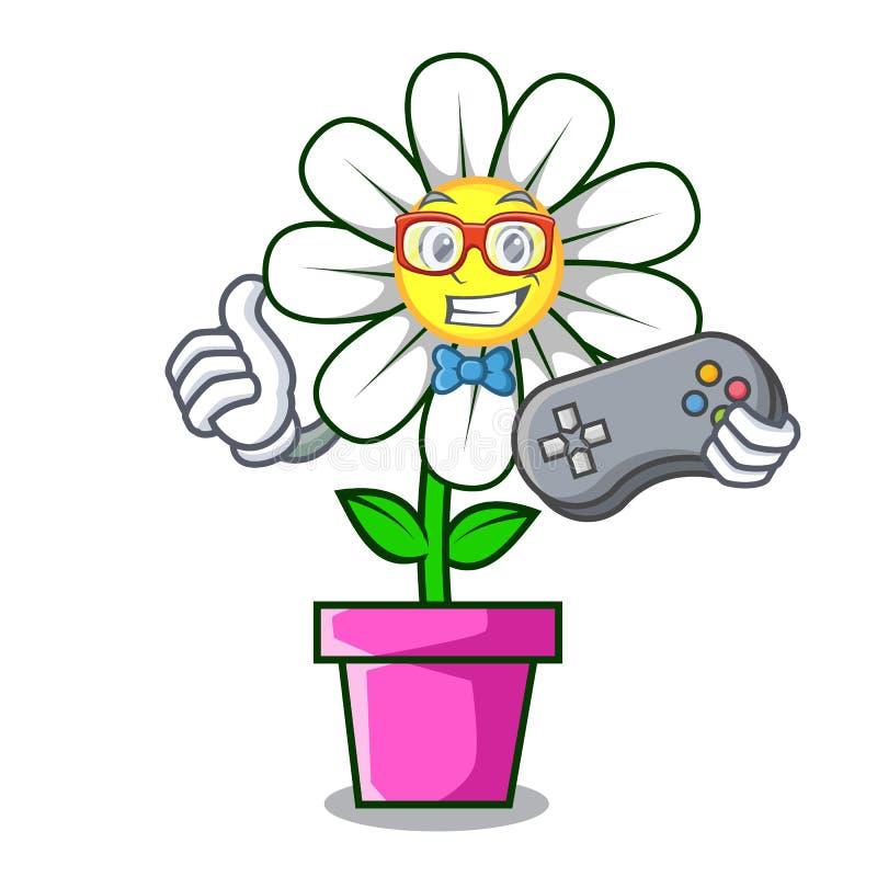 Desenhos animados da mascote da flor da margarida do Gamer ilustração royalty free