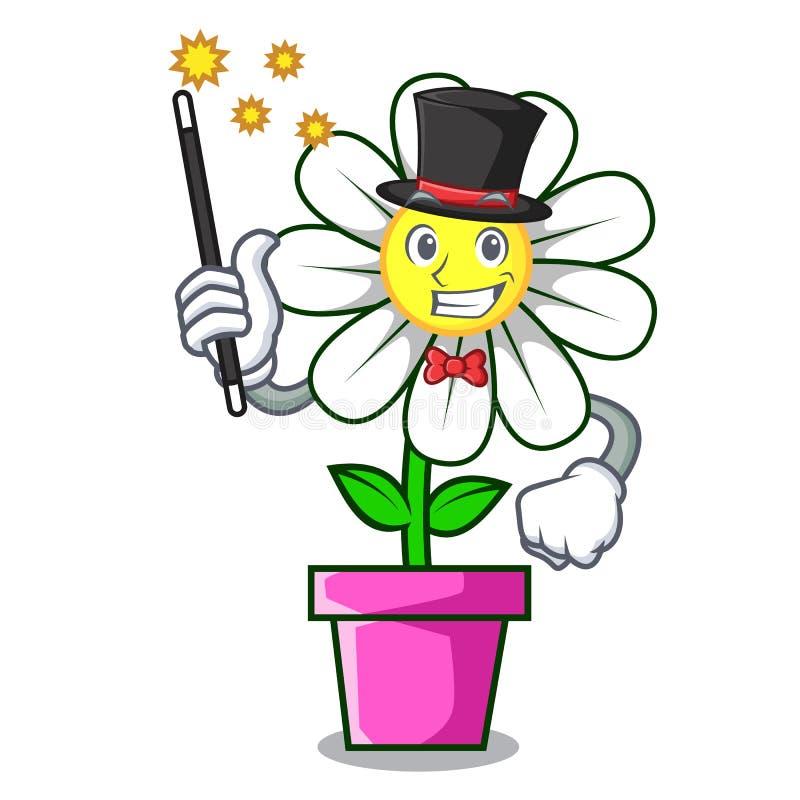 Desenhos animados da mascote da flor da margarida do mágico ilustração royalty free