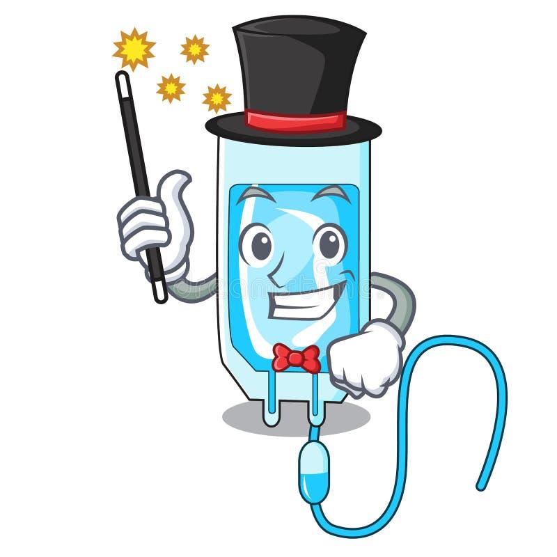 Desenhos animados da mascote da garrafa do infussion do mágico ilustração do vetor